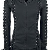 Black Hooded Lace-Up Zippered Hoodie