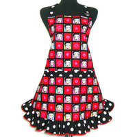 Betty Boop Apron,  Retro Hostess Style with Ruffle and Pocket