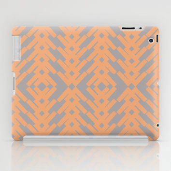 Peach and Gray Tribal Pattern iPad Case by Nikki Neri