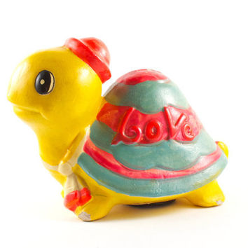 Hippie LOVE Turtle Piggy Bank Kitsch Retro Yellow Chalkware / Vintage 70s