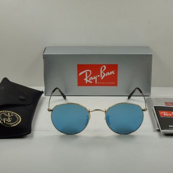 RAY-BAN ROUND FLAT SUNGLASSES RB3447N 001/9O GOLD FRAME/BLUE FLASH LENS 50MM