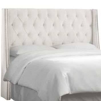 Skyline Tufted Nail Button Wingback Headboard in Velvet White
