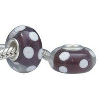 European Charm Glass Bead Brown White Dots