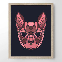 Geometric Cat - Abstract - Minimalist Art - Home Office Bathroom Decor - Housewarming Gift - Wedding Gift - Baby Nursery Decor - Simplistic