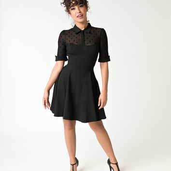 Collectif 1950s Style Black Short Sleeve Wednesday Skater Dress