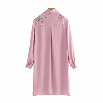 NSZ Women Silk Satin Blouse Long Embroidery Shirt Pink Top Turn Down Collar Ladies Top High Quality Camiseta asimetrica Blusas