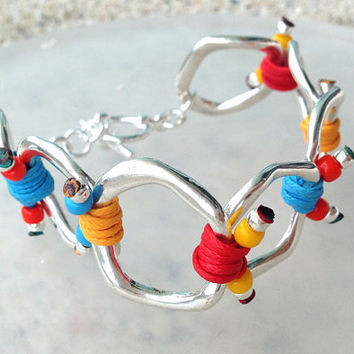 Spring 2014 Collection Silver Ring Bracelet with Red Blue and Yellow Cords
