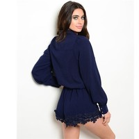 Navy Lace Trim Romper
