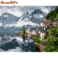RUOPOTY Frame Picture Town Landscape DIY Painting By Numbers Kits Calligraphy Painting Modern Wall Art Picture For Home Decors