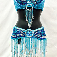 Women's Mermaid Teal  Multi Color halter rhinestone Sequined  Bra + Belt Full Outfit Costume, Belly Dancing, Rave, Edc, Edm, Festival