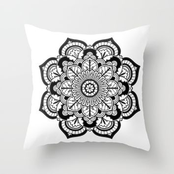 Black and White Flower Throw Pillow by Azima