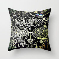 Daisy's Doodles Throw Pillow by MADAME MAZUNI
