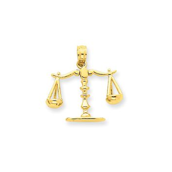 14k Yellow Gold 3D Moveable Scales of Justice Pendant