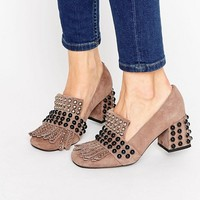 Jeffrey Campbell Bernice Kiltie Embellished Taupe Suede Mid Heeled Shoes at asos.com