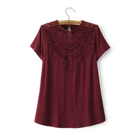 Lace Cutout Patchwork T-shirt