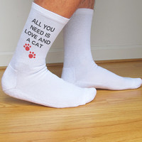 All You Need is Love and a Cat, Funny Valentine Socks, Custom Printed Personalized Black or White Men's Crew Socks, Set of 3