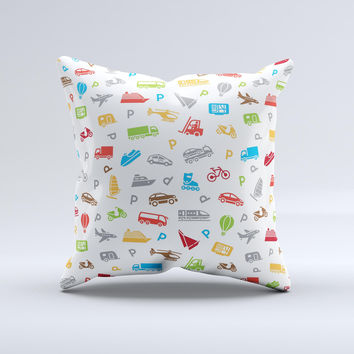 Colorful Travel Collage Pattern ink-Fuzed Decorative Throw Pillow