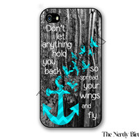 Wooden Background with Turquoise Chevron Anchor with Birds and Quote Plastic or Rubber iPhone 4, 5, or 5C Case