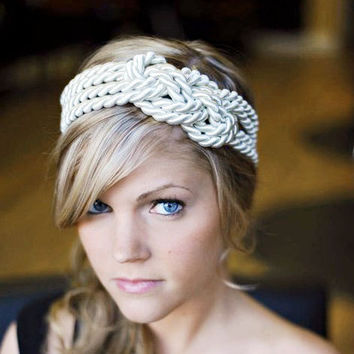 $15.00 WHITE Large sailor knot headband by TeaAccessories on Etsy