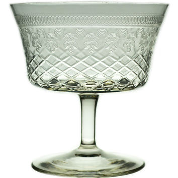 4 Engraved Champagne Saucer Glasses, Antique English, circa 1910