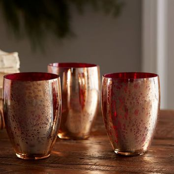 GOLD WITH RED INTERIOR VOTIVE CUPS, SET OF 3