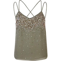 Khaki embellished multi strap cami top