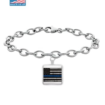 Thin Blue Line Flag Bracelet With Links thinbluelinebracelets