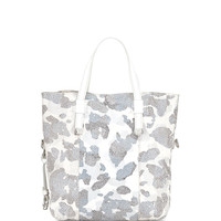 Printed Leather Tote Bag, White Multi - Halston
