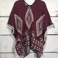 Very Moda Women's Aztec Boho Cape Poncho Reversible One Size