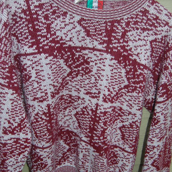 Vintage 80s Colore Gray & Burgandy Abstract Graphic Pullover Unisex Sweater Size Large Made in Italy