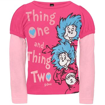 Dr. Seuss - Thing One Thing Two Pink Toddler 2Fer T-Shirt