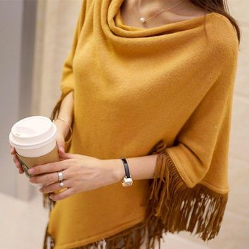 2018 turtleneck womans cape fashion brand fringe poncho batwing ladies winter ponchos and capes knitting poncho patterns sweater