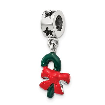 Sterling Silver Green Enameled Candy Cane Dangle Bead Charm