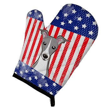 American Flag and Italian Greyhound Oven Mitt BB2166OVMT