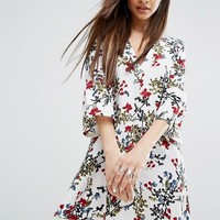 PrettyLittleThing Printed Frill Sleeve Shift Dress at asos.com