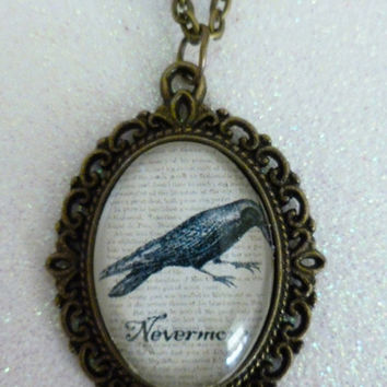 Edgar Allan Poe The Raven Inspired Bronze Cameo Necklace