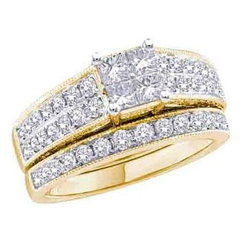 14k Yellow Gold Princess Diamond Women's Luxury Wedding Bridal Engagement Ring Band Set 3/4 Cttw - FREE Shipping (US/CAN)