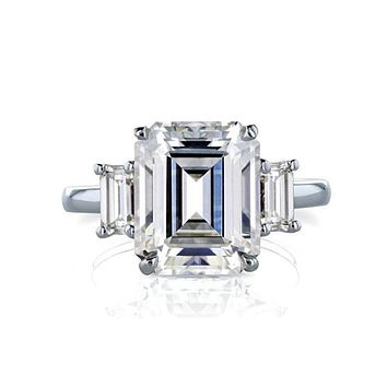 14K White Gold 1CT Emerald Cut Moissanite Diamond Solitaire Engagement Ring