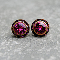 Raspberry Pink Amethyst Earrings - Sugar Sparklers Small - Swarovski Crystal Pink Amethyst Rhinestone Stud Earrings