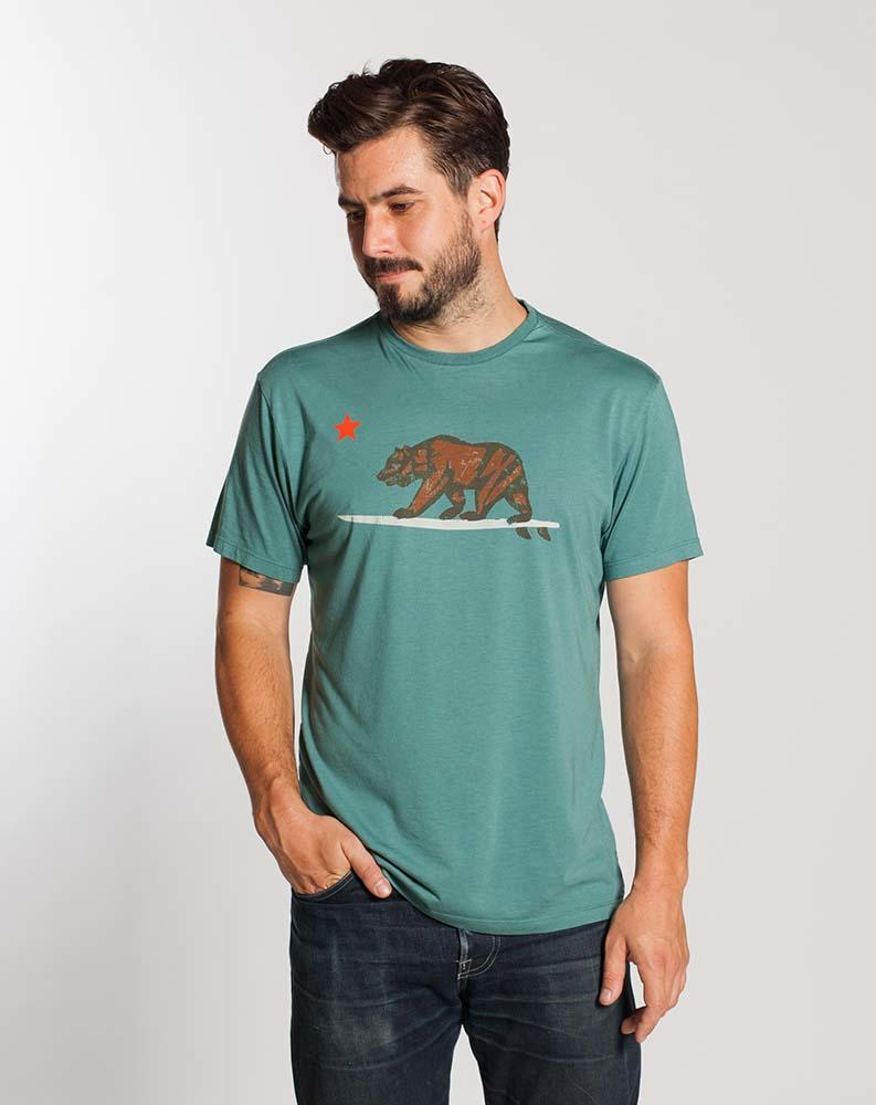 Surfing Bear Graphic Tee - Moss Green : from Marine Layer