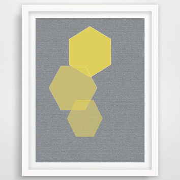 Printable Geometric Print, Hexagon Print, Yellow and Grey Wall Art Printable Hexagon Geometric Home Decor, Modern Wall Art, INSTANT DOWNLOAD