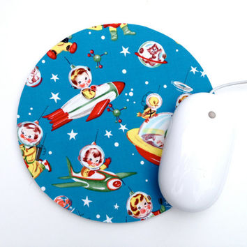 Mouse Pad / Rocket Rascal / Vintage Space Decor / Home Office / Round Mousepad / Michael Miller / Blue, Red, Yellow