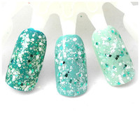 Up To Snow Good - Blue, Teal, Aqua, White, Prism, Pearl Glitter Winter Nail Polish (LIMITED EDITION)