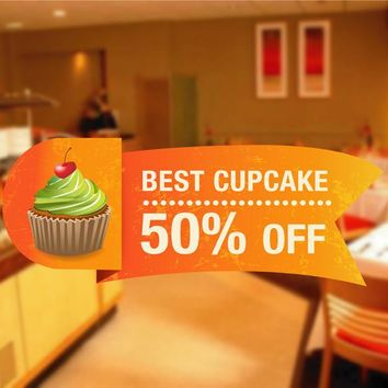 cik1122 Full Color Wall decal discount cupcake sweet pastry shop window snack restaurant