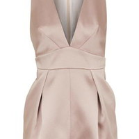 PETITE Satin Plunge Playsuit - Blush