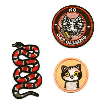 No Cat Calling Snake Embroidered DIY Iron On Patches For Clothing