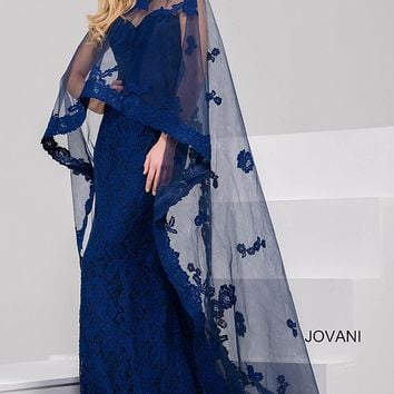Navy Fit Lace Evening Dress with Sheer Overlay 39769
