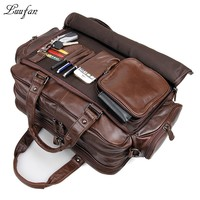 Men's genuine leather briefcase Big real leather laptop tote bag Cow leather business bag double layer messenger bag