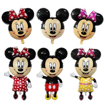 112CM Giant Mickey Mouse Minnie Balloons Big Head Mickey Minnie Balloon Stick for Birthday Party Decorations Kids Party Supplies