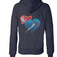 Firefighter Zip Up Bling Hoodie - Fire Wife, Girlfriend, Mom